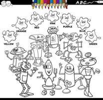 livre de couleurs de couleurs de base avec des personnages de robot vecteur