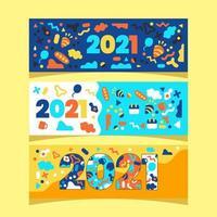 2021 bannière de concept abstrait coloré bonne année vecteur
