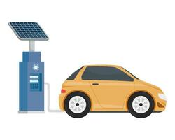 Station de service d'écologie électrique avec voiture jaune vecteur