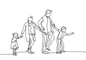 dessin au trait continu des membres de la famille. père, mère, fille et fils se tenant la main. vecteur