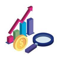barres statistiques avec loupe et pièce de monnaie vecteur