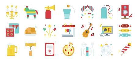 jeu d'icônes plat nouvel an parti éléments vecteur