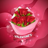 beau bouquet de fleurs de la Saint-Valentin vecteur
