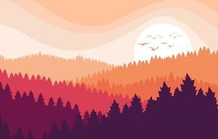 paysage de forêt plat avec fond de coucher de soleil vecteur