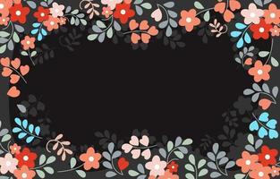 fond floral simple avec un espace vide noir vecteur