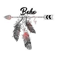 style boho dessiné à la main de flèche décorative avec des plumes vecteur