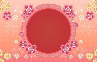 beau cadre de fleur de nouvel an chinois vecteur