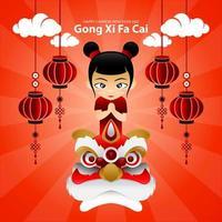 dessin animé gong xi fa cai illustration design vecteur