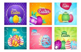 collection de modèles de publication de médias sociaux pour le jour de pâques vecteur