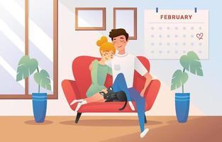 rester à la maison date de la Saint-Valentin vecteur