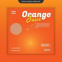 modèle de médias sociaux de jus d'orange. facile à utiliser. vecteur premium