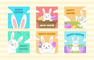 jolie collection de publications sur les médias sociaux de lapin de pâques vecteur