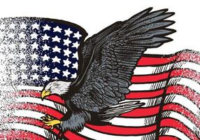 aigle volant dessiné à la main avec illustration de drapeau américain isolé sur fond blanc. aigle volant avec drapeau américain pour logo, emblème, papier peint, affiche ou t-shirt. symbole américain de la liberté. vecteur