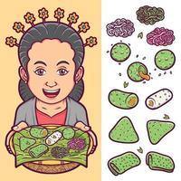 cuisine indonésienne traditionnelle isolée sertie d'illustration de caractère