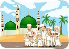 scène avec personnage de dessin animé de famille musulmane vecteur