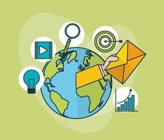 technologie de marketing numérique avec la planète terre vecteur