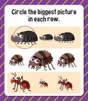 encerclez la plus grande image dans chaque feuille de calcul pour les enfants vecteur