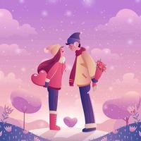 romantique de couple amoureux vecteur