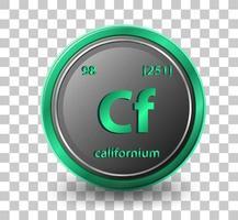 élément chimique californien. symbole chimique avec numéro atomique et masse atomique. vecteur
