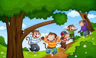 cinq petits singes sautant dans la scène de la forêt vecteur