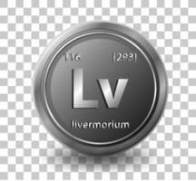 Élément chimique livermorium. symbole chimique avec numéro atomique et masse atomique. vecteur