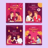 carte de voeux pour le dîner romantique de la saint-valentin vecteur