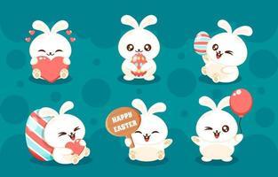 Concept de personnage mignon et moelleux lapin de Pâques blanc vecteur