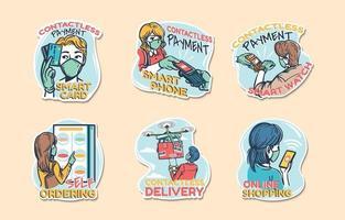 technologie sans contact intacte dans la vie quotidienne stickers vecteur