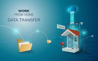 travail en ligne numérique à domicile sur téléphone, fond de site Web mobile. concept de transfert de données à distance sociale vecteur