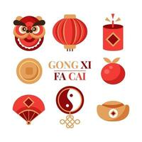 gong xi fa cai icônes nouvel an chinois