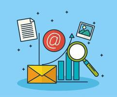 technologie de marketing numérique avec enveloppe vecteur