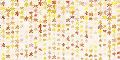 modèle vectoriel rouge et jaune clair avec des éléments de coronavirus.