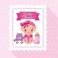 carte de douche de bébé avec jolie petite fille vecteur