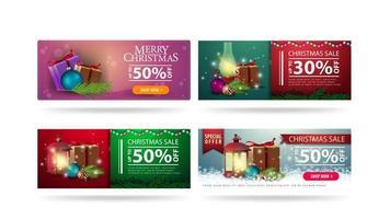 Vente de Noël, ensemble de bannières de réduction de Noël horizontales avec des éléments de Noël isolés sur fond blanc