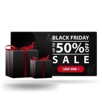 vente du vendredi noir, jusqu'à 50 de réduction. bannière de réduction 3d noir moderne avec des cadeaux