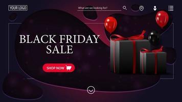vente du vendredi noir. bannière de réduction violet moderne en papier découpé avec des ballons et des cadeaux