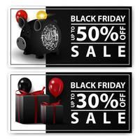 vente de vendredi noir, deux bannières web horizontales avec tirelire et cadeaux. vecteur