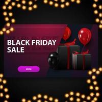 vente vendredi noir, bannière de réduction 3d violet moderne avec des ballons et des cadeaux