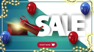 vente, bannière de réduction horizontale avec boîte-cadeau et ballons