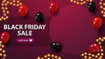 vente de vendredi noir, modèle de réduction avec espace copie, place pour votre photo et ballons vecteur