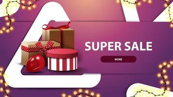 bannière de réduction rose moderne pour site Web avec de grands triangles, guirlandes et coffrets cadeaux