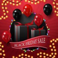 vente vendredi noir, bannière de remise carrée pour votre créativité avec grand cercle, guirlande, ruban et ballons vecteur