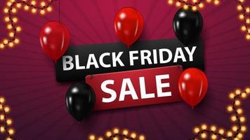 vente vendredi noir, bannière de réduction avec des ballons rouges et noirs vecteur