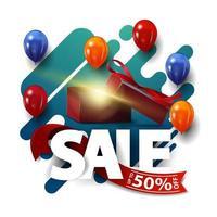 vente, jusqu'à 50 de réduction, bannière de réduction festive carrée abstraite verte avec ballons et boîte-cadeau
