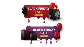 Vente de vendredi noir, deux bannières de remises horizontales avec tirelire, ballons et cadeaux isolés sur fond blanc vecteur