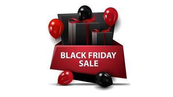 vente vendredi noir, bannière rouge et noire sous la forme de signe géométrique avec des ballons et des cadeaux. vecteur