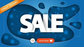 vente, bannière de réduction bleue en style papier découpé avec de grandes lettres et un bouton