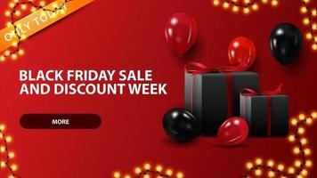 Vente de vendredi noir et semaine de réduction, bannière web de réduction horizontale rouge avec des ballons et des cadeaux vecteur
