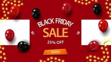 vente vendredi noir, jusqu'à 25 de réduction, bannière rouge avec des ballons vecteur