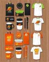 lot d'éléments de maquette d'aliments sains branding vecteur